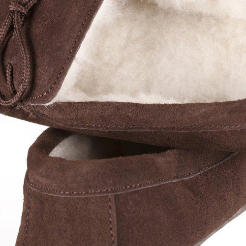 Nordvek - Damen Mokassin-Hausschuhe aus echtem Schaffell mit weicher Sohle aus Veloursleder - # 431-100 Schokoladenbraun