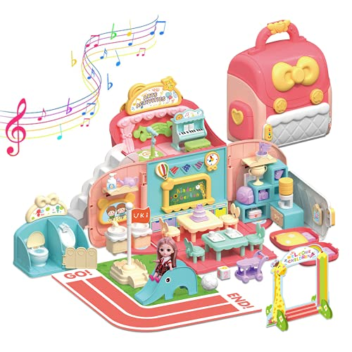 O WOWZON Doll Houses Portable for Indoor for Girls Compatible with Barbie Dolls, Toy House with Musical Pretend Play, 49pcs Dollhouse Furniture Set for 3 to 7 Years Olds Toddler and Kids