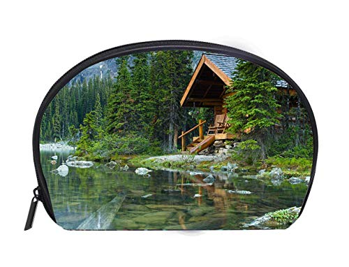 Hidden Lake Log - Portable Toiletry Cosmetic Bag Log cabin hidden in the trees by the Lake Ohara in Canada Ladies Travel Convenience Small Wash Bag Storage Bag