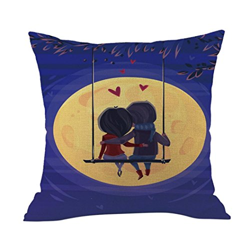 Challyhope Valentine Cute Pillow Cases Cotton Linen Sofa Cushion Cover Home Decor For Sweet Lover Gifts (The Moonlight Lover - 2017 Moonlight Classic