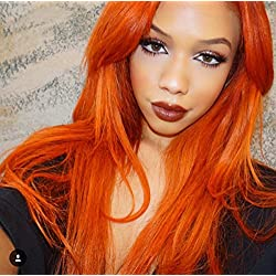 Orange Color Kanekalon Fiber 13×6 Inch Lace Real Natural For Women–Soft&Smooth, Straight Lace Front Wig,Elastic Straps,Comfortable & Adjustable For Perfect Fit –1002F# Blonde 250D 22""