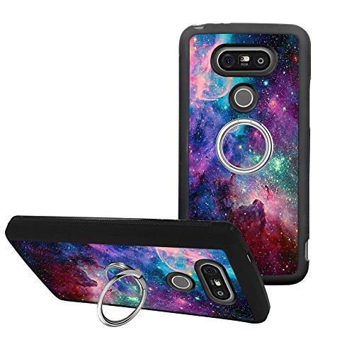 Universal Custom Purple Space Sky LG G5 Phone Case Ring Holder Kickstand Rotational Heavy Duty Armor Protective Soft TPU Bumper Shell Cover for LG G5