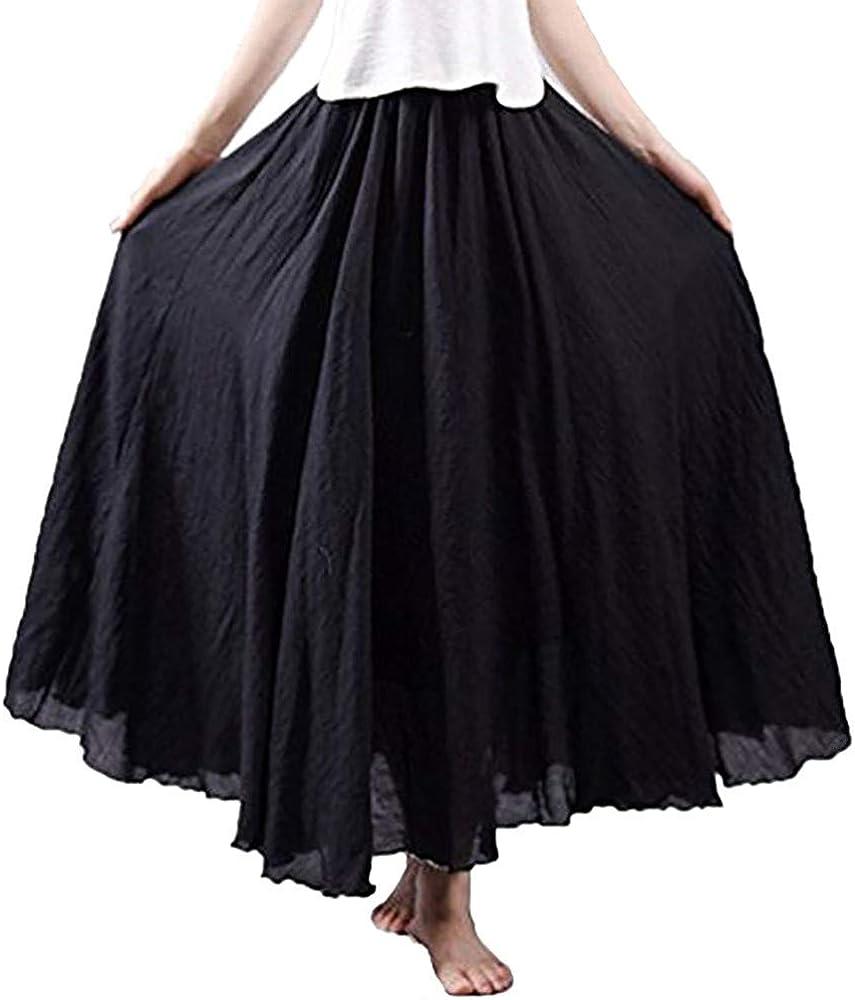 Bohemian Style Womens Elastic Waist Band Cotton Linen Long Maxi Skirt Dress