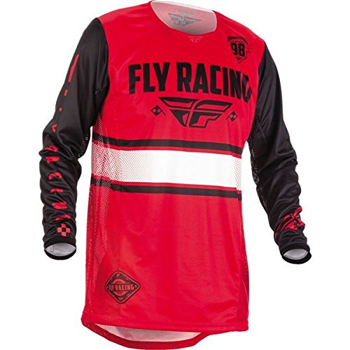 (Fly Racing Men's Kinetic Era Jersey (Red/Black, Youth Medium))