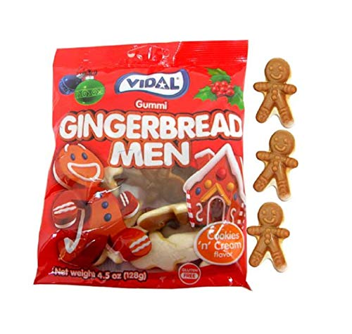 Seasonal Christmas Gummi Gingerbread Men Gummy Candy Stocking Stuffer Peg Bag, 4.5 Oz
