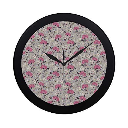 (C COABALLA Floral Circular Plastic Wall Clock,Wild Garden Foliage Dahlia Peony Pansy Flora Pink Petals Pastel Colors Feminine Decorative for Home,9.65