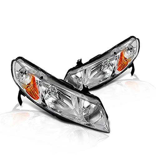 Instyleparts Honda Civic Sedan Clear Lens Headlight with Chrome Housing