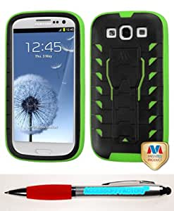 Accessory Factory(TM) Bundle (Phone Case, 2in1 Stylus Point Pen) SAMSUNG Galaxy S III (i747 L710 T999 i535 R530 i9300) Natural Black Electric Green TUFF Treadz Hybrid Protector Cover