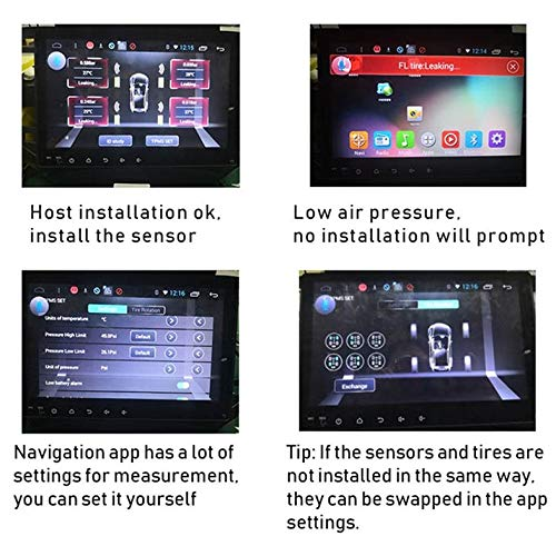 CamKpell Universal USB Car TPMS Android Tire Pressure Monitoring System with 4 External Sensors Auto Security Alarm Systems