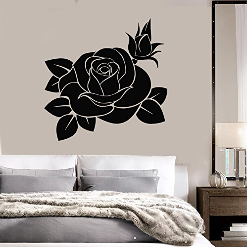 Wall Stickers Vinyl Decal Black Rose Flower Decor for Bedroom - rose flower wall art