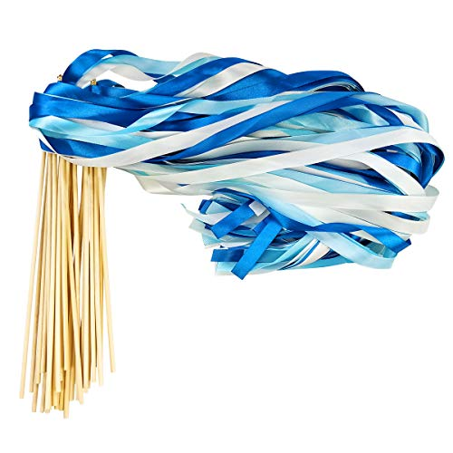 Cieovo 50 Pack Ribbon Wands Chromatic Silk Ribbon with Bells Fairy Stick Wish Wands for for Wedding Party Activities (Blue)