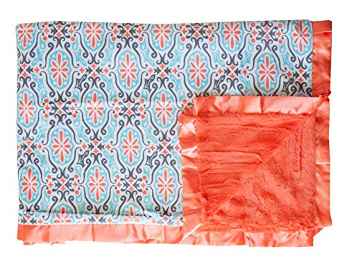 (Minky Couture Printed Premium Blanket - Soft, Warm, Cozy, Comfortable, (Infant, Cameo Tiff/Coral))