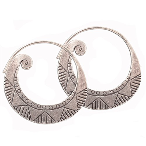 - Handmade Earrings Pure Silver Thai Karen Hill Tribe