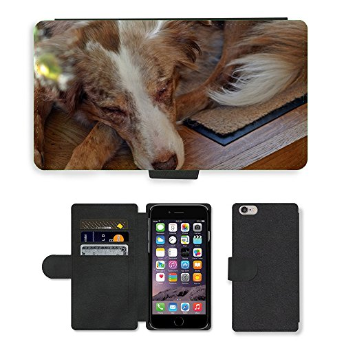 "Just Phone Cases PU Leather Flip Custodia Protettiva Case Cover per // M00128654 Chien Berger australien Animal couchage // Apple iPhone 6 PLUS 5.5"""