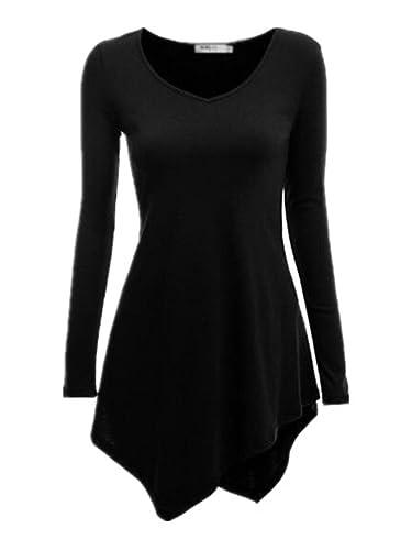 Kerlana Tops Mujeres Camisetas De Manga Larga De Casuales Camiseta Cuello En V De La Camisas Color s...