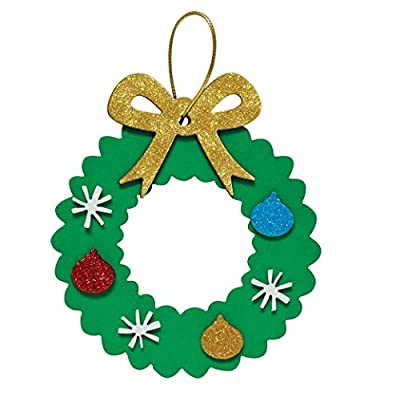 Christmas Wreath Ornaments Craft Fun Foam Kit Holiday Makes 16