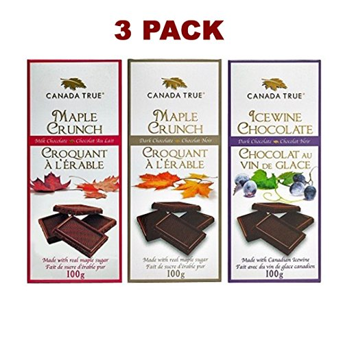 unch Milk & Dark Chocolate, Icewine Chocolate Bars 100% Canadian Maple Sugar ()