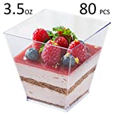 Tosnail 3.5 Oz Square Clear Plastic Mini Dessert Tumbler Cups - 80 Pack