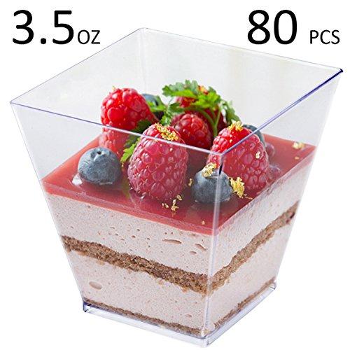 Tosnail 3.5 Oz Square Clear Plastic Mini Dessert Tumbler Cups - 80 Pack (Reusable Plastic Dessert Cups)