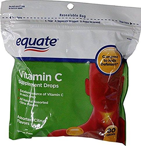 Equate Vitamin C Supplement Drops 80ct, Compare to Halls Defense
