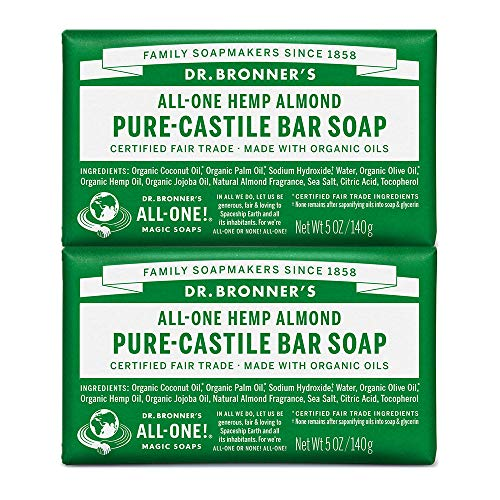 Dr. Bronners - Pure-Castile Bar Soap (Almond, 5 ounce, 2-Pack) - Made with Organic Oils, For Face, Body and Hair, Gentle and Moisturizing, Biodegradable, Vegan, Cruelty-free, Non-GMO