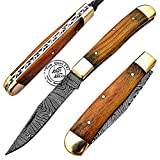 single blade trapper - Beautiful Olive Wood Damascus Steel Single Blade Trapper Folding Pocket Knife 100% Prime Quality