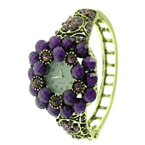 Women's Antique Gold Bangle Watch with Purple Faceted Beads and Crystals