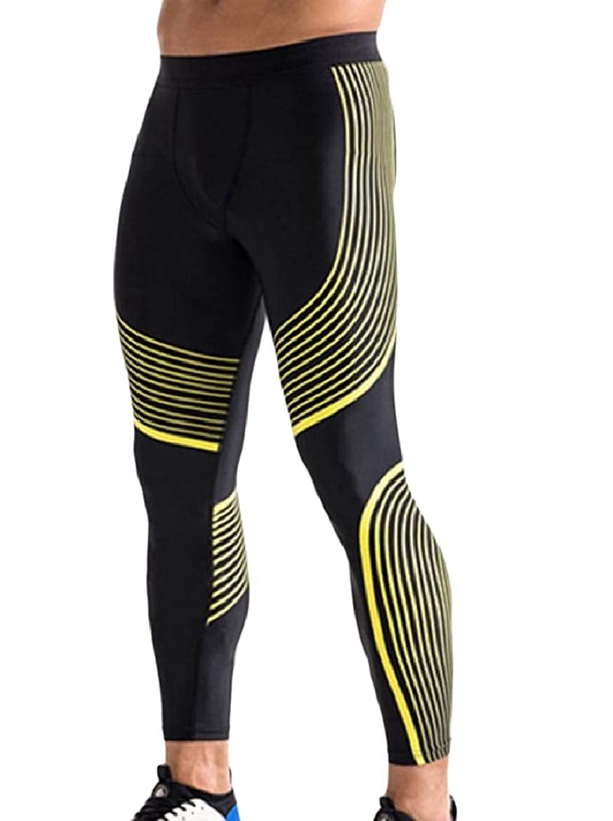 Sebaby Mens Shapewear Quick Drying Stripes Athletic-Fit Yoga Legging Tight