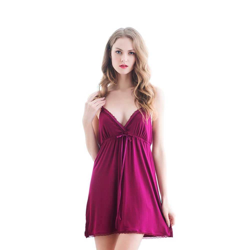 a9f6be11d0 Marster Fashions Cotton Sleeveless Nightdress Striped Short Nightie(Rose  RedL PW1008)  Amazon.co.uk  Clothing