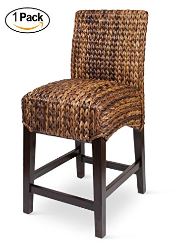 Bird Rock Seagrass Counter Stool (Counter Height) | Hand Woven Mahogany Wood Frame | Fully Assembled (Seagrass Counter Stools)