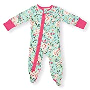 Earthy Organic Baby Sleeper 2-Way Zipper Pajamas Boy Girl (9 Sizes: Preemie-3T) 100% Organic Cotton (6M- Footed, Turquoise Rose)