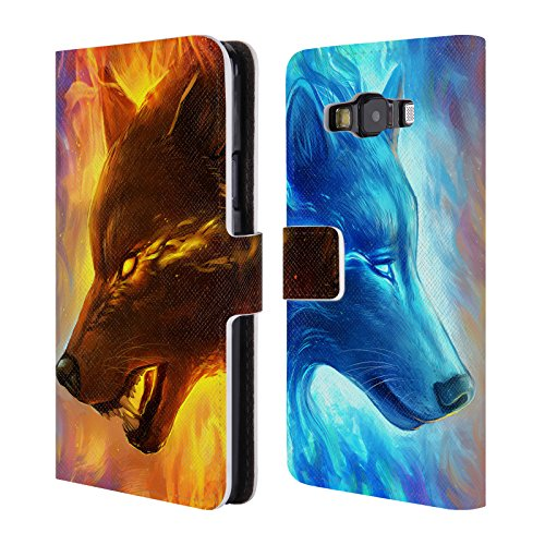 "Price comparison product image Official Jonas ""JoJoesArt"" Jödicke Fire And Ice Wildlife Leather Book Wallet Case Cover For Samsung Galaxy A3"