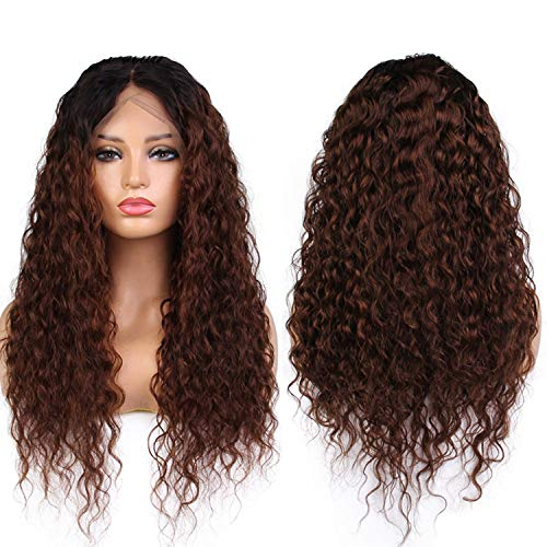 Ombre Color 360 Lace Front Wigs with Baby Hair Brazilian Kinky Curly Remy Human Hair Wigs Pre Plucked Bleached Knots,24inches,150%