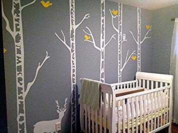 PopDecors   Trees Wall Decal Nursery Deer Baby Decal Winter Trees Wall  Mural   Winter Cool