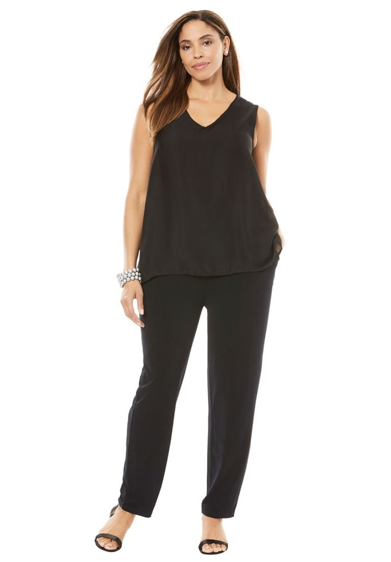 Jessica London Women's Plus Size Tank Jumpsuit Black,22 W