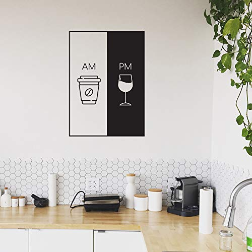 Vinyl Wall Art Decal - AM Coffee PM Wine - 30