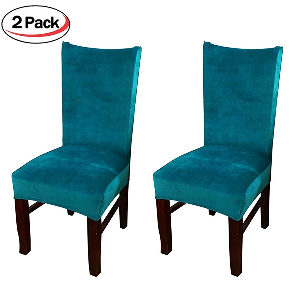 Smiry Velvet Stretch Dining Room Chair Covers Soft Removable Dining Chair Slipcovers Set of 2, Peacock Blue