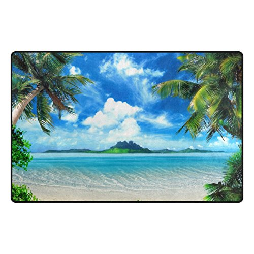 Naanle Tropical Beach Palm Tree Non Slip Area Rug for Living Dinning Room Bedroom Kitchen, 3' x 5'(39 x 60 inches), Sea Ocean Nursery Rug Floor Carpet Yoga Mat