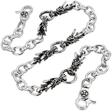 [해외]Uniqsum 남자 용 지갑 체인 바이 커 펑크 키 체인 SJ07S (실버) / Uniqsum Men`s Dragon Wallet Chain Biker Punk Keychain to SJ07S (Silver)