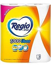 Regio Toalla De Papel Regio 1000 Usos 2 Rollos De 130 Hojas Dobles, color, 130 count, pack of/paquete de