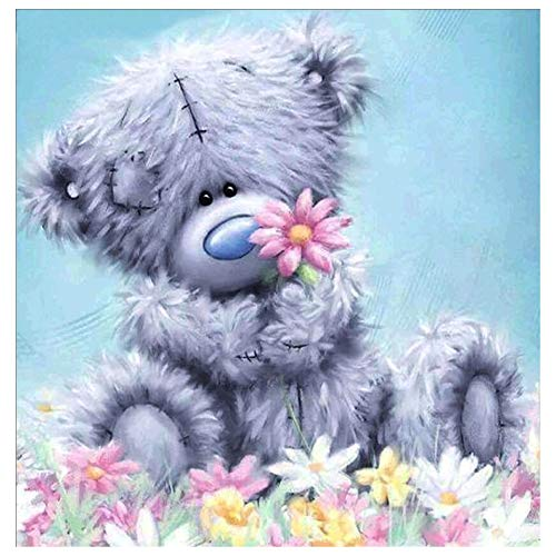 Hrank 5D DIY Diamond Painting,Full Drill Rhinestone Arts Craft for Home Wall Decor,Teddy Bear,Size:30X30CM/12X12inch