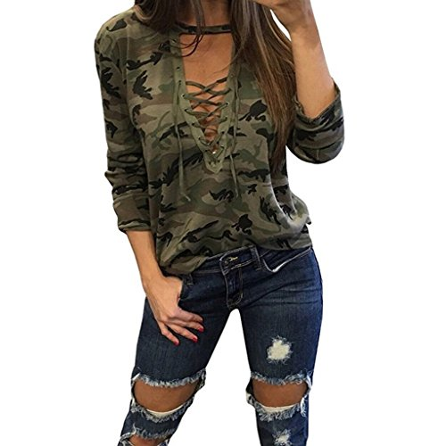 ABD Womens V Neck Long Sleeve Camouflage Print Bandage Loose Blouse T-Shirt Top Small Green Camouflage