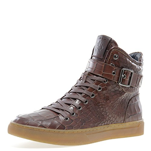 Jump Newyork Men's Sullivan Brown Croco Round Toe Metallic Reptile Stamped Leather Lace-Up Inside Zipper and Strap High-Top Sneaker 12 D US -