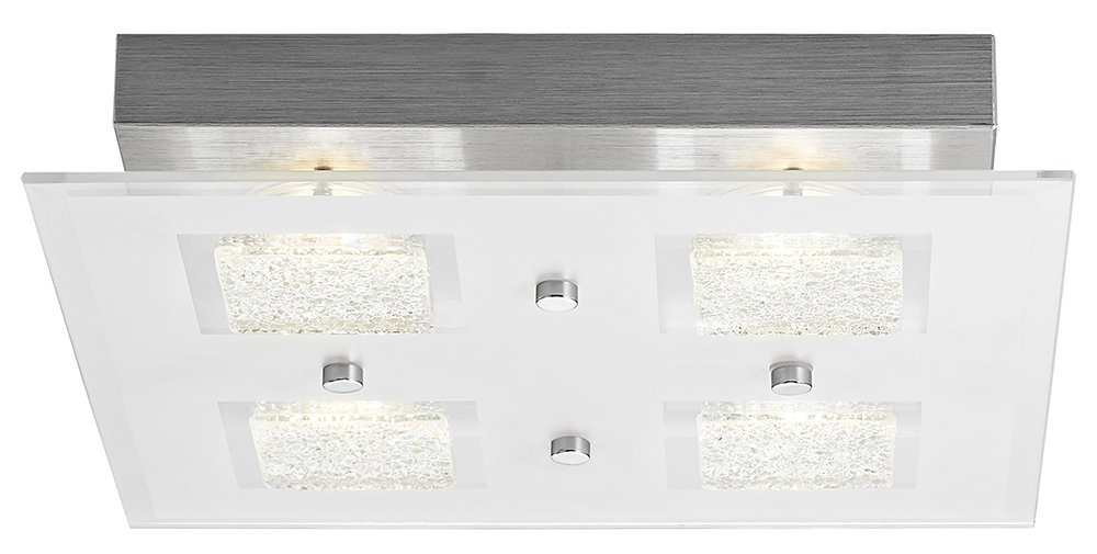 Haysom Interiors Modern Square LED Bathroom Light with Clear/Frosted Glass Plate, Metal Chrome