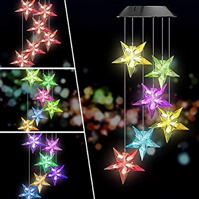 Solar Garden Lights,ELMCHEE Color Changing Wind Chimes Solar Star Mobile LED Portable Waterproof Outdoor Decorative Romantic Wind Bell Light for Patio Yard Garden