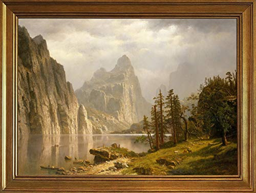 Berkin Arts Classic Framed Albert Bierstadt Giclee Canvas Print Paintings Poster Reproduction(Merced River Yosemite Valley) #JK ()