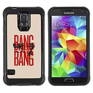 WAWU Rugged Armor Slim Protection Case Cover Shell -- bang gun text red beige minimalist war -- Samsung Galaxy S5 SM-G900