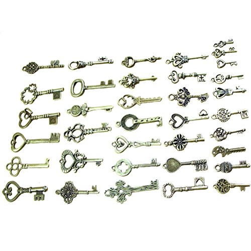 Buytra 40 Pack Vintage Skeleton Keys Charms in Antique Bronze Color for Jewelry Making Supplies, Steampunk Accessories, Craft (Scrapbook Metal Charms)