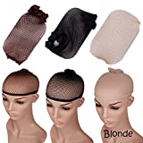 S-noilite (5pcs)blonde WIG Cap,stretch Breathable Full Head Hair Wigs Cap,for Full Wigs/half Wigs,unisex,one Size Fixes All (Blonde, 5 Pcs)
