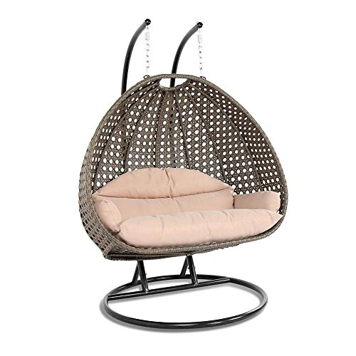 Dubai Collection Wicker Swing Chair with Stand PRO((2 Person)X-Large-PRO, Latte)